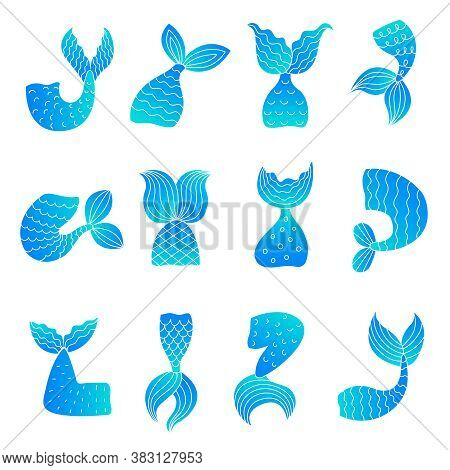 Mermaid Tails. Drawing Ocean Marine Symbols Of Fairy Tail Woman Fish Beautiful Tails Vector Illustra