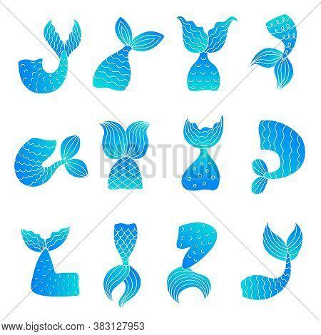 Mermaid Tails. Drawing Ocean Marine Symbols Of Fairy Tail Woman Fish Beautiful Tails Vector Illustra