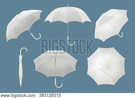 Blank 3d Umbrella. Waterproof Protected Rain Umbrella Vector Realistic Template. Realistic Umbrella