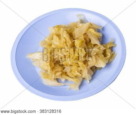 Braised Cabbage In Light Blue Plate Isolated On White Background. Braised Cabbage Top Side View .hea