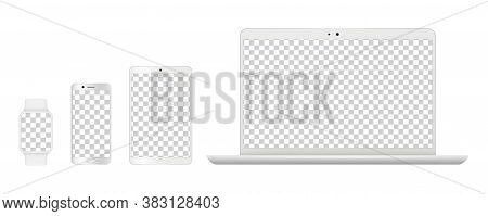 Device Mockups. Realistic White Laptop, Smartphone Tables And Smart Clock. Isolated Gadgets With Tra