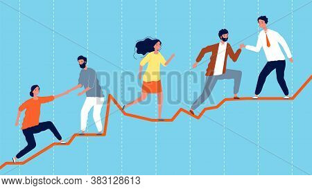 Teamwork. Leadership Concept, Business Team Climbing On Economic Graph. Successful Work Vector Illus