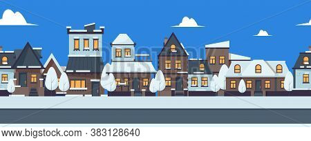Winter Street Banner. Cute Snowy Houses Seamless Pattern. Suburban Buildings Vector Illustration. Ch