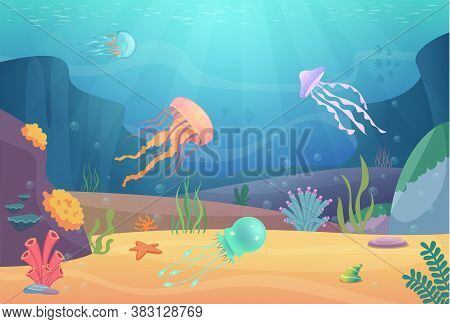 Underwater Life. Ocean Landscape With Fishes And Beautiful Jellyfish Aquarium Natural Animals Vector