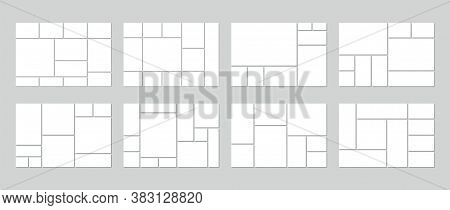 Photo Collage Template. Vector. Mood Board. Set Of Picture Grids. Blank Moodboard Background. Mosaic