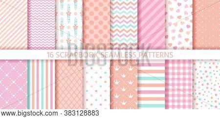 Scrapbook Seamless Pattern. Baby Girl Background. Vector. Set Baby Shower Textures With Stripe, Zigz