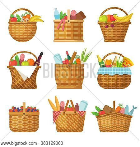 Basket With Products. Handcraft Picnic Hamper With Various Food Vegetables Fruits Vector Baskets. Pi
