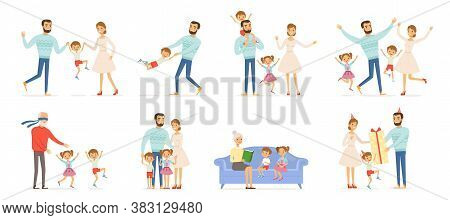 Family Characters. Happy Kids With Parents In Action Poses Father Childrens Mother And Grandparents