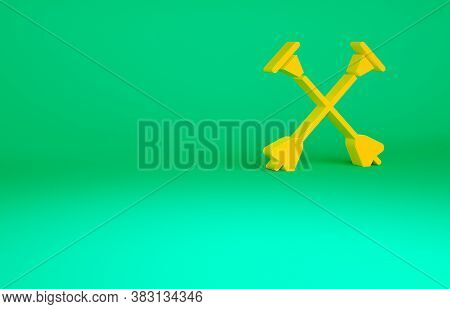 Orange Arrow With Sucker Tip Icon Isolated On Green Background. Minimalism Concept. 3d Illustration
