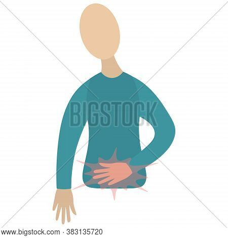 Abdominal Pain. A Symptom Of Various Pathologies. Vector Icon. Man Holds His Stomach. Isolated White
