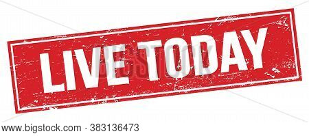Live Today Text On Red Grungy Rectangle Stamp.