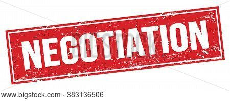 Negotiation Text On Red Grungy Rectangle Stamp.