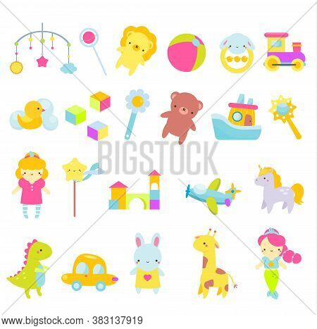 Big Set Of Kids Toys. Children Game Tools Icons. Doll, Car, Teddy Bear And Other Playing Objects For