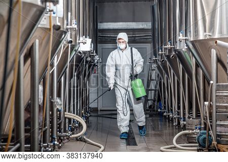 Startup And Small Business. Man Working In Brewery Factory In Protective Suit And Mask Disinfects Pl
