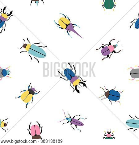 Colorful Bugs Seamless Pattern. Cartoon Cute Insects Of Botanical Icon Set, Vector Illustration Beet