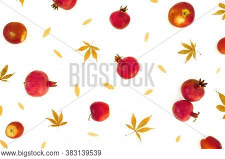Pomegranate With Apple And Fall Leaves Isolated On White Background. Autumunal Concept. Flat Lay, To