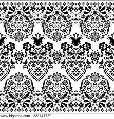Scandinavian Floral Folk Art Seamless Vector Pattern With Birds, Nordic Repetitive Black And White O