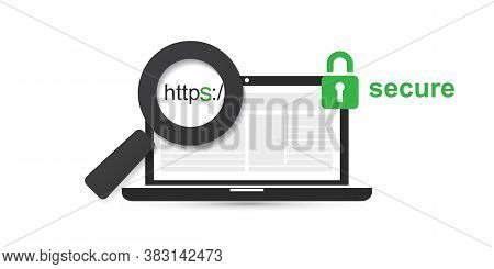 Https Protocol - Safe And Secure Browsing On Mobile Computer - Vector Concept