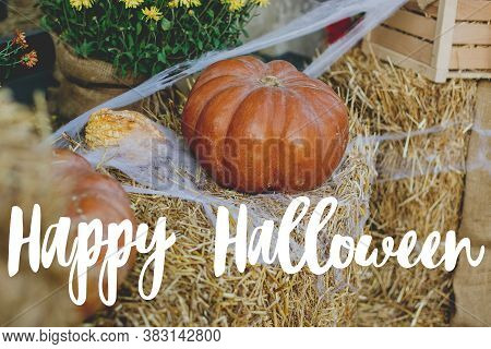 Happy Halloween Greeting Card. Hand Written Happy Halloween Text On Background Of Pumpkins In Cobweb