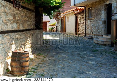 Nessebar, Bulgaria - Sep 02, 2019: Street Of The Old Town. Popular Destination. Rustic Architectural