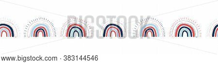 Rainbows Seamless Border. Childish Repeating Pattern With Hand Drawn Rainbows. Trendy Kids Backgroun