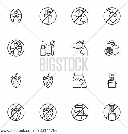 Allergy Symptoms Line Icons Set, Allergic Reaction Outline Vector Symbol Collection, Linear Style Pi