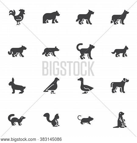 Zoo Animals Vector Icons Set, Modern Solid Symbol Collection, Filled Style Pictogram Pack. Signs, Lo
