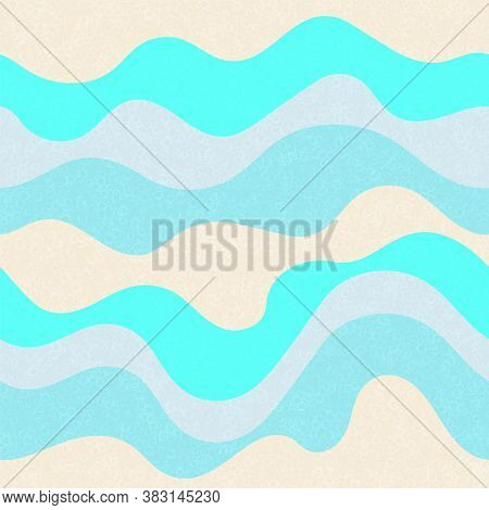 Candy Wrapping Wavy Seamless Pattern. Marine Waves Flow Doodle Vector. Cute Wavy Stripes Childish Fa