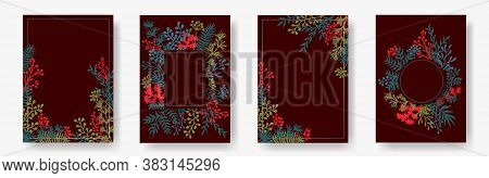 Watercolor Herb Twigs, Tree Branches, Leaves Floral Invitation Cards Templates. Herbal Corners Roman