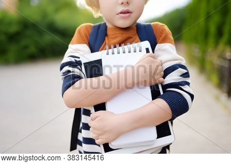 Child Going To School After Break. Education For Children. First Day Of School. Child's Fear. Bullyi