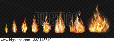 Realistic Fire Flames Set Collection. Illustration Of Realism Style Drawn Blazing Orange Fire Flames