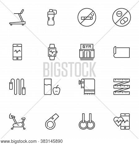 Sport Equipment Line Icons Set, Gym And Fitness Outline Vector Symbol Collection, Linear Style Picto
