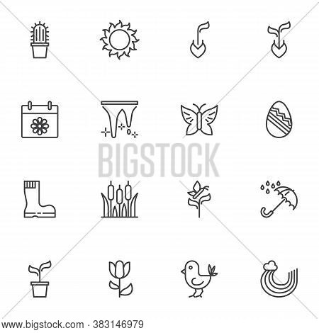 Spring Time Line Icons Set, Outline Vector Symbol Collection, Linear Style Pictogram Pack. Signs, Lo