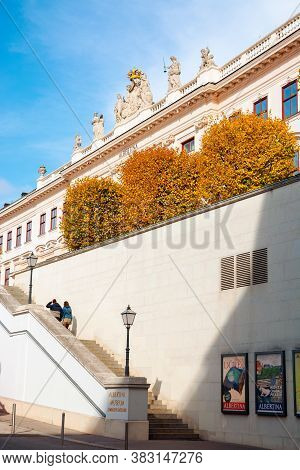 Vienna, Austria - Oct 17, 2019: Back Side Entrance Of Albertina Museum Building. Lantern And Logo On
