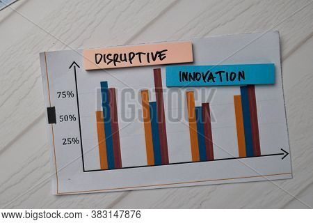 Disruptive Innovation Write On Sticky Notes With Graphic On The Paper Isolated On Office Desk.