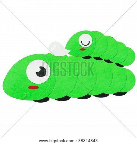 Rice Paper Cut Cute Green Worm