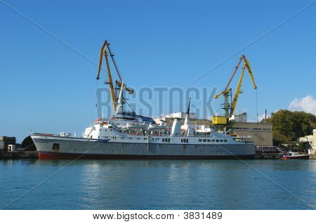 Gargo Ship In A Seaport
