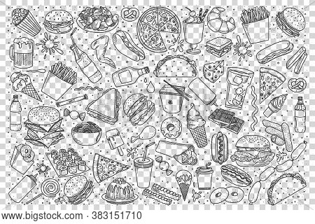 Fast Food Doodle Set. Collection Of Pencil Hand Drawn Sketches Of Pop Corn Sandwitch Hot Dog French