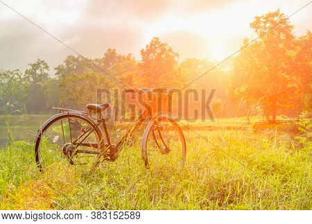 The Evening Sun Shines On A Vintage Bike Parked In The Field, Beautiful Scenery, Old Bike With The L