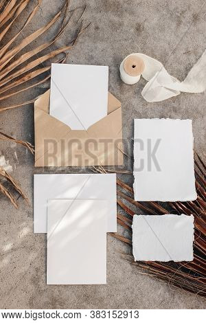 Tropical Wedding Invitation Suite. Summer Stationery Mock-up Scene. Blank Greeting Cards With Dry Pa
