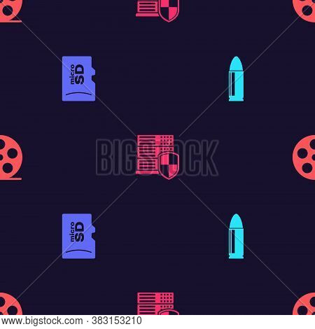 Set Bullet, Micro Sd Memory Card, Server With Shield And Film Reel On Seamless Pattern. Vector
