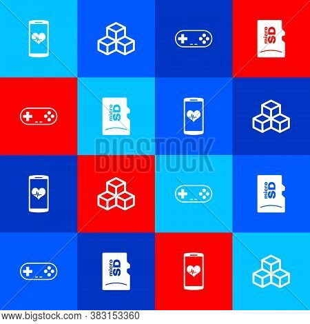 Set Smartphone With Heart Rate, Isometric Cube, Gamepad And Micro Sd Memory Card Icon. Vector