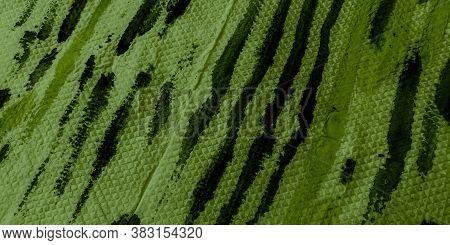 Painted Stripe. Dark Water Color Stripe Pattern. Lime Watercolor Strips. Stripes Waves Pattern.  Lim