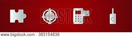 Set Piece Of Puzzle, Outsourcing Concept, Pos Terminal And Remote Control Icon. Vector