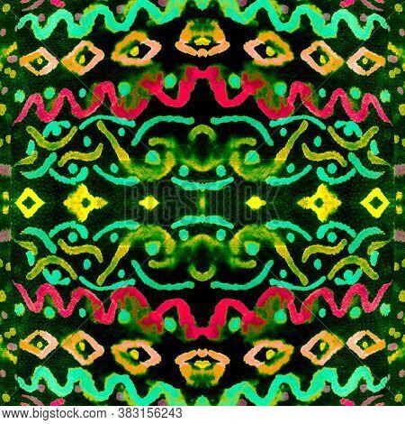 Geometric Batik Pattern. Tie Dye Colors. Multicolored Indonesia Geometric Pattern. Ikat Chevron Patt