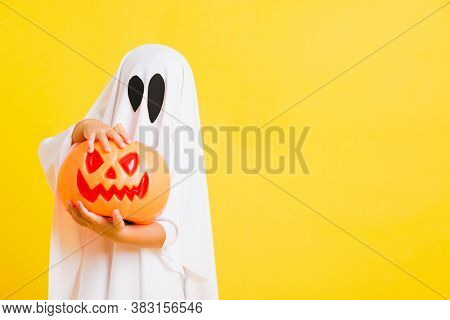 Funny Halloween Kid Concept, Little Cute Child With White Dressed Costume Halloween Ghost Scary He H