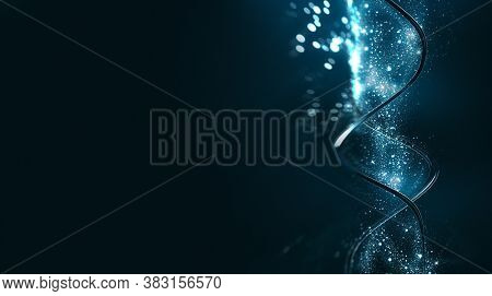 3d Abstract Dna Strands With Shine Light