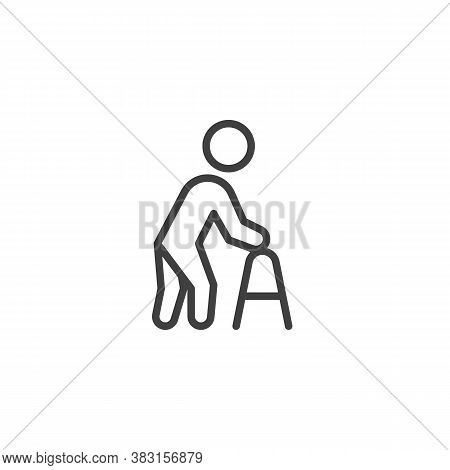 Elderly Man With Paddle Walker Line Icon. Linear Style Sign For Mobile Concept And Web Design. Disab