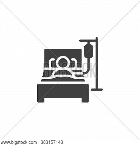Person In Hospital Bed Vector Icon. Filled Flat Sign For Mobile Concept And Web Design. Man Having I