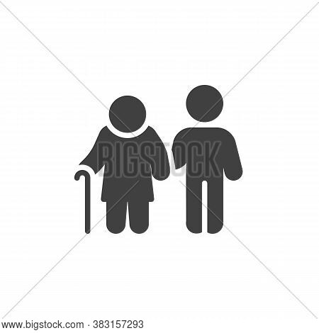 Disabled Person And Volunteer Vector Icon. Filled Flat Sign For Mobile Concept And Web Design. Volun